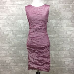 Nicole Miller Metallic Taffeta Fitted Dress